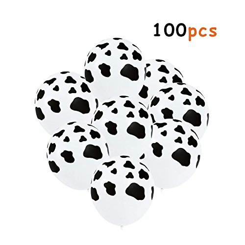 Muhuyi 12 Inches Funny Cow Print Latex Balloons for Children's Birthday Farm Animal Theme Party Supplies Decoration (100 Pieces) by Muhuyi