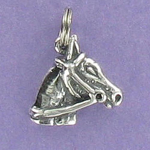 Horse Head Profile Charm Sterling Silver 925 for Bracelet Equestrian Riding Rein - Jewelry Accessories Key Chain Bracelets Crafting Bracelet Necklace - Riding Rein