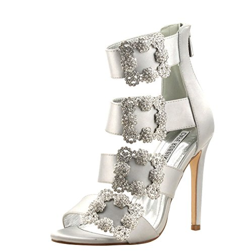 CAPE ROBBIN Womens Open Toe Buckle Strappy Cage Jeweled Rhinestone Stiletto High Heel Sandals 7.5 - Jeweled High Heel