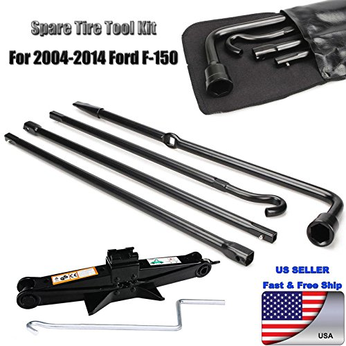 Spare Tire Tool For 2004-2014 F150 Lug Wrench Extension Steel Kit with Scissor Jack 2 Tonne Heavy Duty