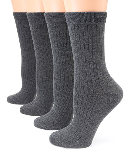 MIRMARU Womens 4 Pairs Solid Color Lightweight Ribbed knitted Soft Cotton Casual Crew Socks