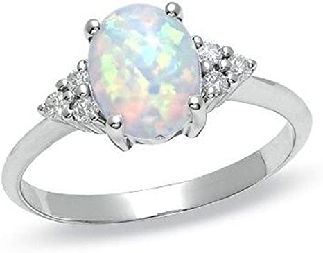 2019 New Opal Ring Round Opal White Stone Hand Jewelry Fashion Jewelry Ring Valentines Day Gifts for Girlfriend Boyfriend