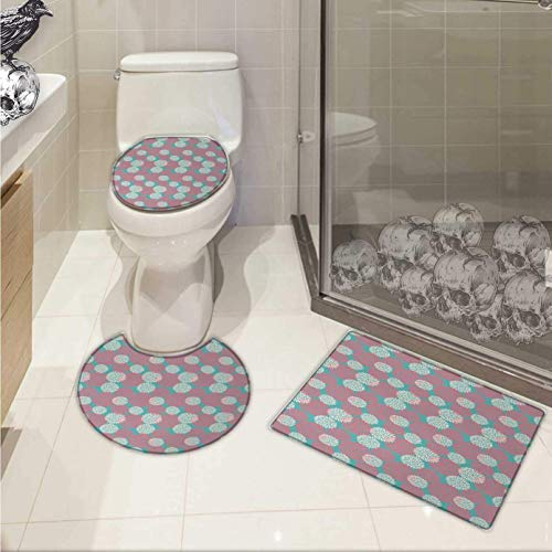 Rustic Home bathmat Toilet mat Set Dhalia Flower Garden Theme Extravagant Rural Wild Floral Plants Pattern Non-Slip Soft Absorbent Bath Rug Teal Pink White from ALLMILL
