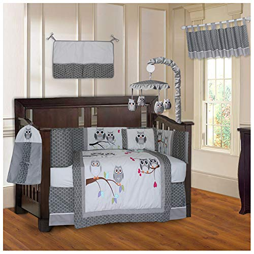 BabyFad Owl Grey 10 Piece Baby Crib Bedding Set