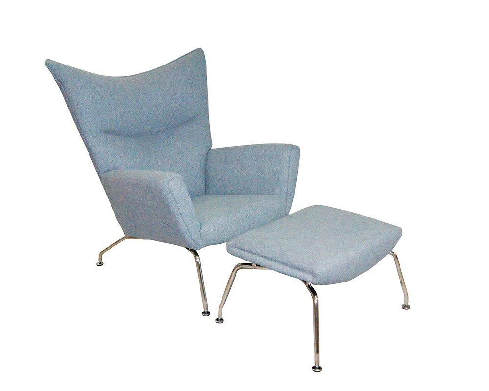 Mod Made Classic Lounge Chair and Ottoman, Grey by Mod Made