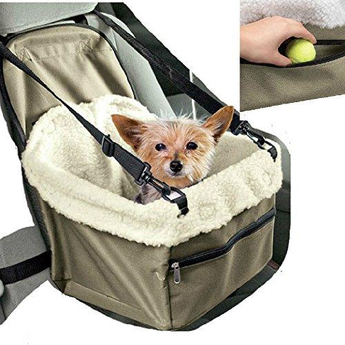 Transportín de coche para asiento, cesta para sillita de perro, gato, mascotas con correas de seguridad y suave acolchado interno.