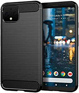 Case for Google Pixel 4 TPU Brushed Anti-Fingerprint Full-Body Protective Phone Case Cover for Google Pixel 4(Black Brushed TPU)