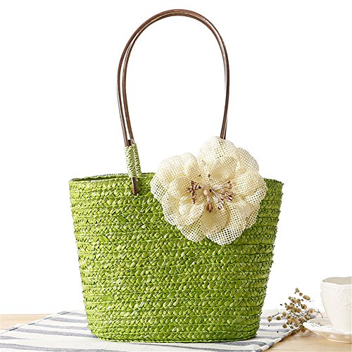 Hecho Army Beach Tejido Army Meaeo A Green Sen Bolso Flower Department Summer Bag Bags Mano Candy Straw Green Big Holiday Color Mujeres Bolso rYHYvwPq
