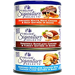 Wellness Natural Grain Free Signature Selects Shredded Wet Cat Food Variety Pack Box - 3 Flavors (Chicken, Beef, & Turkey) - 2.8 Ounces Each (12 Total Cans)