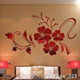 Alrens_DIY(TM)Multi-pcs Large Flowers DIY TV Background Decor Mirror Surface Crystal Wall Stickers Acrylic 3D Home Decal Living Room Murals Wall Paper adesivo de parede (S--1000mm*800mm, Red)