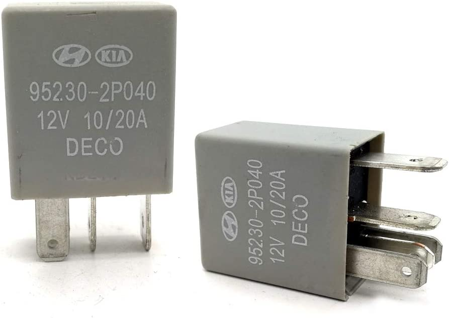 2 Pack Automotive Multi-Purpose Relay DC 12V 30A 4 Pin OEM Part Number 95230-3A400 for Hyundai Kia