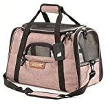 Pawfect Pets Airline Approved Pet Carrier Soft-Sided Cat Carrier and Dog Carrier for Toy Breed/X-Small Dogs and Cats, Fits Underneath Airplane Seat. Comes with Two Fleece Pet Mats. (Blush Tan)