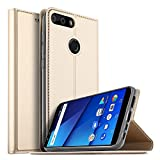 BLU Vivo X Wallet Case, VMAE Magnetic Folio Stand Ultra Slim Cover, PU Leather Card Slot Full Body Flip Protection Case for BLU Vivo X 6.0inch - Gold