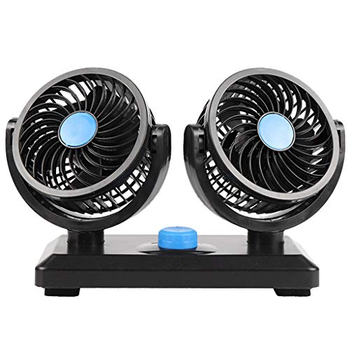 2 Speed Dual Head Auto Cooling Car Fan,12V Electric 360 Degree Rotatable Car Fan,Air Circulator Fan for Van Truck Vehicle RV Boat