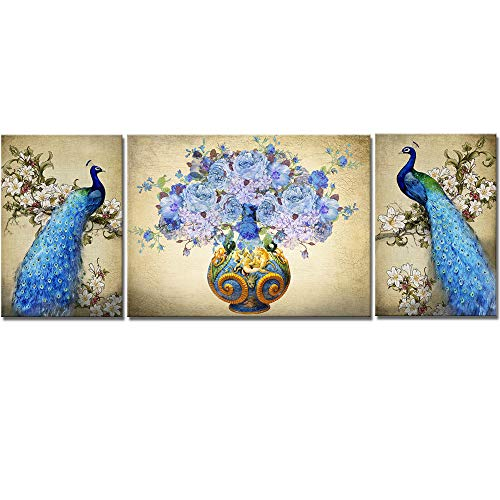 - VividHome 3 Pieces Animal Peacock Canvas Wall Art Elegance Blue Peacock Beautiful Peony Blossom of Vase Picture Print on Canvas Modern Artwork Picture Ready to Hang for Living Room Office Wall Decor
