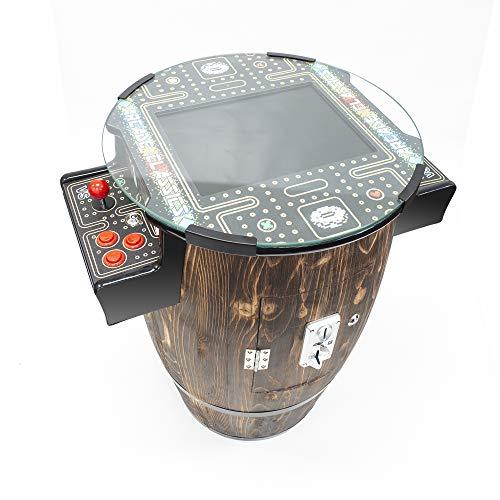 Creative Arcades Full-Size Commercial Grade Wine Barrel Style Pub Arcade Machine | Dark Woodgrain Shell | 60 Classic Games | 2 Sanwa Joysticks | 2 Stools | 3-Year Warranty | Round Glass Top