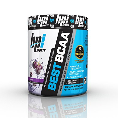 BPI Sports Best BCAA Powder, Branched Chain Amino Acids, Grape - Build Muscle, Improve Recovery and Enhanced Energy Levels 30 Servings, 5g BCAA