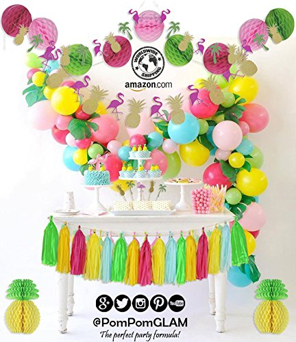 Birthday Party Kit - THE COMPLETE Tropical Pink Flamingo Pineapple Party Decorations Supplies Kit for Birthday, Bridal & Baby Shower Themed Moana Luau Hawaiian Beach Pool Summer - PREMIUM Quality By PomPomGLAM