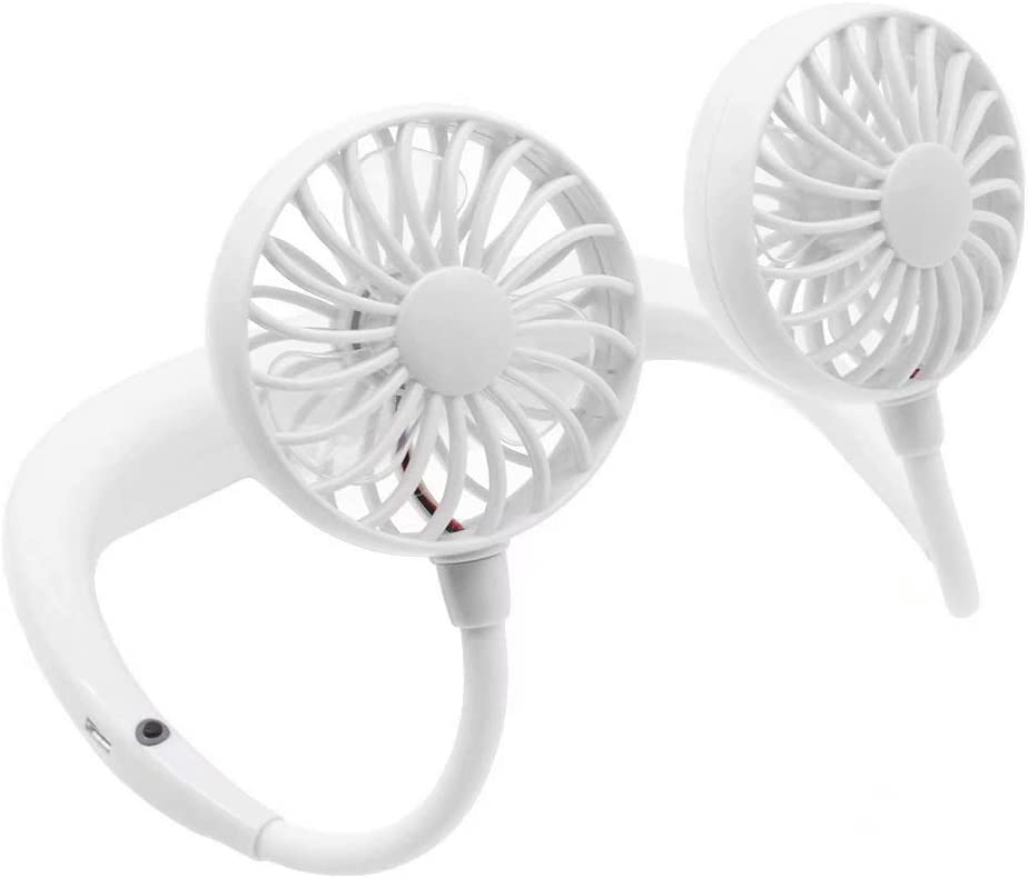 Neck Hanging Dual Cooling Mini-Fan LED Portable USB Rechargeable Neckband Lazy