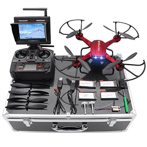 Potensic Drone with HD Camera, F181DH RC Drone Quadcopter RTF Altitude Hold UFO with Stepless-speed Function, 2MP Camera& 5.8Ghz FPV LCD Screen Monitor & Drone Carrying Case – Red