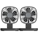 Fansport Electric Car Fan Electric Auto Air Fan Dual Heads USB Rechargeable Auto Cooling Fan