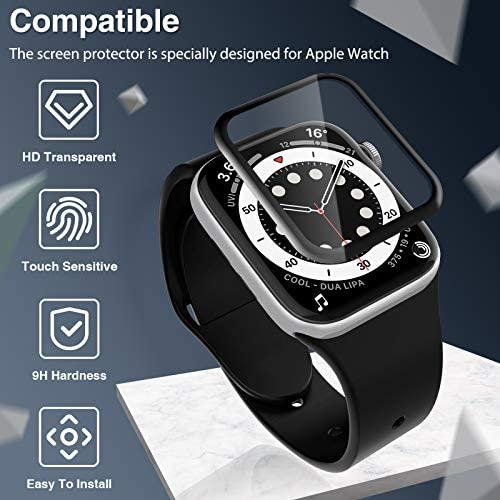 3 Pack LK Screen Protector Compatible with Apple Watch Series 6/5/4/SE 44mm, Full Coverage, Easy to Install, Shatterproof HD Clear Film