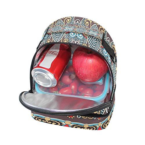 Folpply vintage ethnique Boho Imprimé floral Boîte à lunch Sac isotherme Cooler Tote avec bandoulière réglable pour Pincnic à l'école