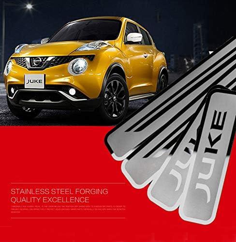 NADAENTA 4 Pezzi Car Battitacco in Acciaio Inox per Ni-ssan Juke 2010-2018 2019 2020 Protector Kick Plates Accessorio Decorativo Styling Car Door Sill