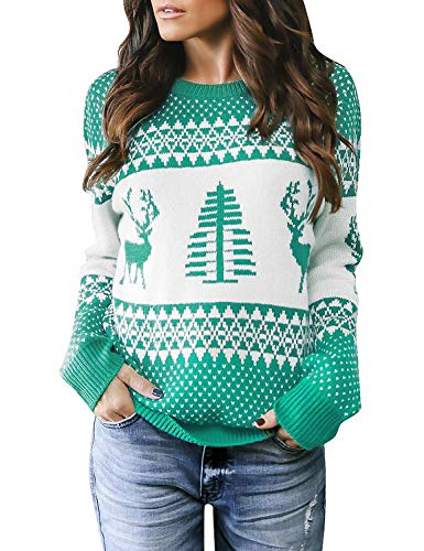 LookbookStore Women's Green Long Sleeves Ugly Christmas Tree Reindeer Winter Holiday Knit Sweater Pullover Size M 8 10 ()
