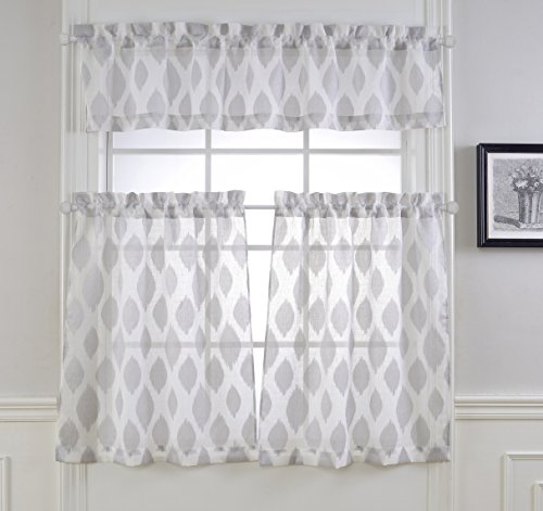 Mysky Home Fashion 3 Pieces Jacquard Kitchen Sheer Tier Curtains and Valance Set, - Kitchen Kitchen Tier Curtains