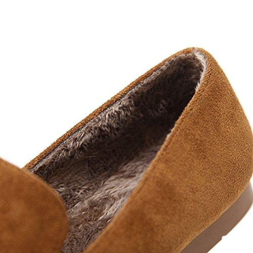 Meeshine Frauen Faux Wildleder Slip-On Loafers Schnalle Fell gefüttert Hausschuhe flache Schuhe Braun