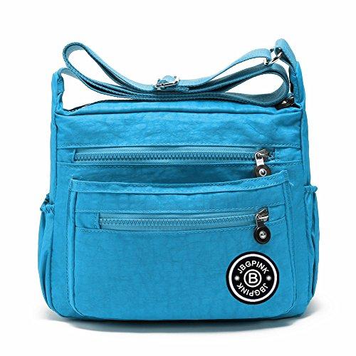 J-BgPink Lightweight Waterproof Nylon Handbag Crossbody Messenger Bag Shoulder Bag Famous Brands (sky blue)