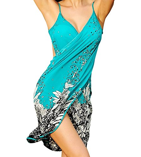 Women's Summer Beachwear Bikini Swimwear Cover-UPS With Flower Print, Turquoise (Turquoise Swimsuit)