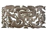 Mermaid Family Haitian Metal Art, Recycled Oil Drum 34″ X 18″