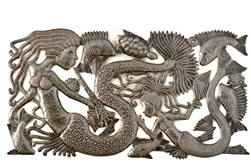 (Haitian Sea Life Wall Hanging Art, Indoor or Outdoor Decor, Beach or Bathroom Theme Decorative Art, Fish, Mermaids, Ocean, Handmade in Haiti 34 in. x 18 in. (Mermaid Family))