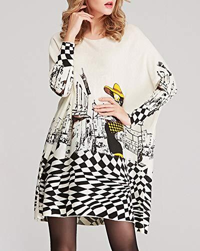 Size Hungrybubble color White Donna Lunga White One Motivo A Abito Size Manica Girocollo Da Stampato Con 6AZvR6q