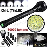 WALLER PAA 60000LM XM-L T6 LED Flashlight 5 Modes Torch 26650/18650 Camping Lamp Light