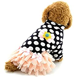 SMALLLEE_LUCKY_STORE Dog Tutu Dress Dots Pattern Small Dog Clothes, XX-Large, Blue