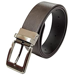 "ZHWNSY Mens Belt Reversible Leather Dress Waist Belts 1.5"" Wide Adjustable Rotated Buckle Casual Classic"