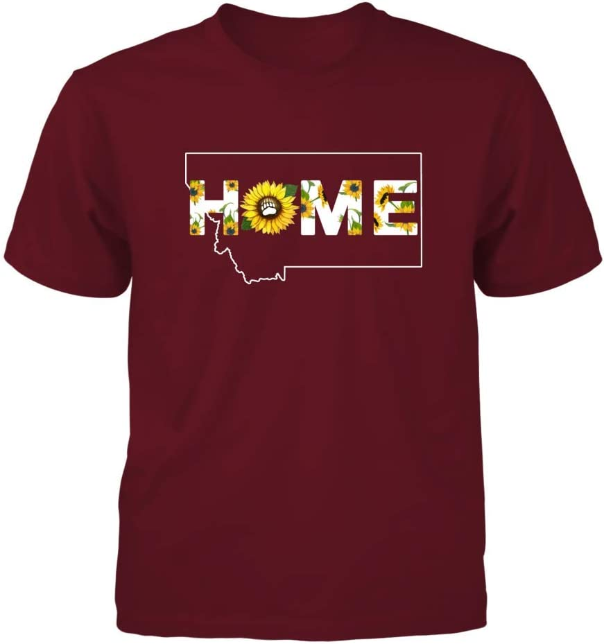 Sunflower Pattern Home State Outline FanPrint Montana Grizzlies T-Shirt