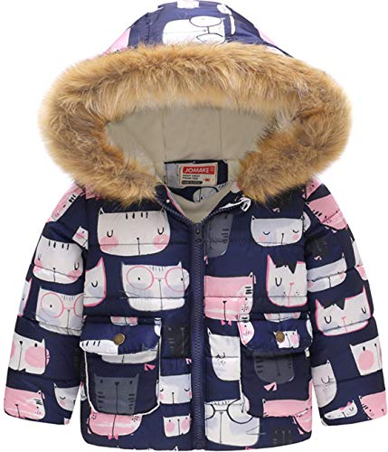 HMBEIXYP Toddler Baby Boys Girls Outerwear Snowsuit Winter Spring Warm Fleece Lined Pattern Windproof Jacket (Navy Pink cat, 2-3Years) ()