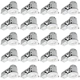Globe Electric 4'' Swivel Spotlight Recessed Lighting Kit Dimmable Downlight, Contractor's 20-Pack, White Finish, Easy Install Push-N-Click Clips, 90948
