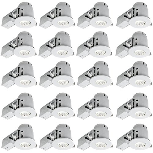 Globe Electric 4'' Swivel Spotlight Recessed Lighting Kit Dimmable Downlight, Contractor's 20-Pack, White Finish, Easy Install Push-N-Click Clips, 90948 by Globe Electric