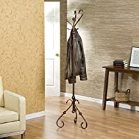 Antique Charm Coat Rack/ Hall Tree , Features 6 Sturdy Hooks with 3 Legged Base in an Antique Bronze Finish It Is Perfect to Be Placed At the Entry Way, Your Bedroom or the Sitting Area
