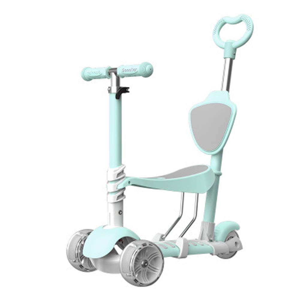 Children's Three-in-one Scooter 2-3-6 Years Old can sit Three-Wheeled Children Flashing Slide Baby Scooter Scooter, yo-yo-Blue