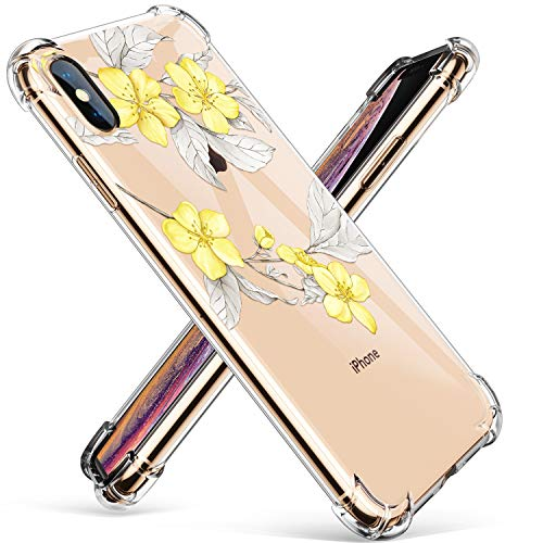 GVIEWIN Compatible for iPhone Xs/X Case, Clear Flower Pattern Design Soft & Flexible TPU Ultra-Thin Shockproof Transparent Floral Cover, Cases iPhone X/iPhone 10 (Yellow Flowers/White)