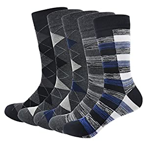 Men's Cotton Dress Socks Okiss Colorful Patterned Winter Crew Socks - Pack of 3 / 5 (5-pack Argyle + Striped)