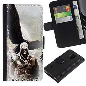 KLONGSHOP // Tirón de la caja Cartera de cuero con ranuras para tarjetas - Asesinos Águila - Samsung Galaxy S5 V SM-G900 //