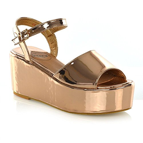 ESSEX GLAM Womens Platform Wedge Heel Sandals Ladies Ankle Strap Peep Toe Shoes Size 3-8 Gold