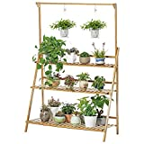Hanging Multi-Storey Flower Racks Solid Sood Floor Balcony Basket Flower Pots Stand ( Color : Brown , Size : L )